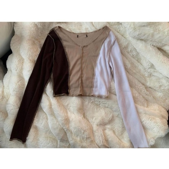 Crop top, different shades of brown, Size Small